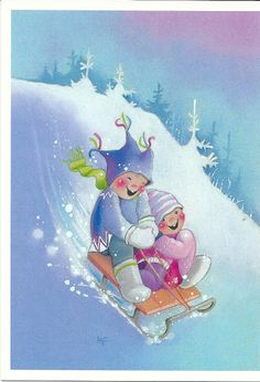 Kaarina Toivanen - Virpi Hyvönen - Picasa Web Albums Winter Illustration, Christmas Illustration, 1st Christmas, Christmas Crafts, Vintage Pictures, Cute Pictures, Funny Drawings, Picture Postcards, Whimsical Art