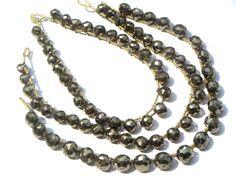 Pyrite Faceted Onion Semiprecious Gemstone Beads by beadsogemstone, $12.30