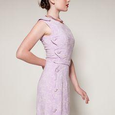 Vintage 1940s Dress Lilac Linen White Floral Summer Fashions 1950s. $89.00, via Etsy.