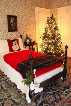 Make bed with Santa belt, white and black fabric for buckle, furry fleece pillow cases.