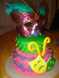 Mardi Gras Cake www.charleyandthecakefactory.com by Charley And The Cake Factory, via Flickr