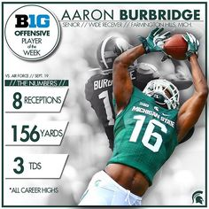 Michigan State Spartans @msu_spartans Congrats to Aaron Burbridge, who has been named the Big Ten Offensive Player of the Week! #ReachHigher