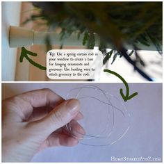 christmas decorating tips- use a spring rod to hang greenery and ornaments inside a window.
