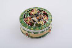 Jewelry Box with Bee on Flowers Faberge Styled Trinket Box Handmade by Keren Kopal Green & Yellow Enamel Painted