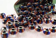 6/0 Striped Czech Glass Seed Beads for Beading Crafts Macrame Weaving Fiber Art // Striped Color Lined Seed Beads Crystal-Blue-Red 20 Grams