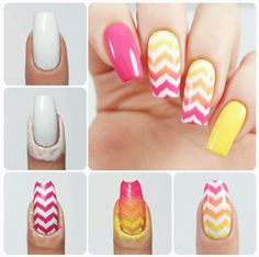 How to create the perfect gradient chevron design using our Marbled Chevron Nail…