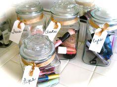 organizing makeup using jars