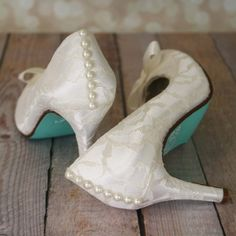 Ivory Wedding Shoes -- Ivory Closed Toe Wedding Heels with Ivory Lace Overlay, Satin Bow on Toe, Pearl Buttons and Blue Painted Sole