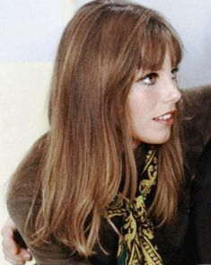 Jane Birkin. balayage highlights and bangs.