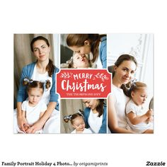 Family Portrait Holiday 4 Photo Card