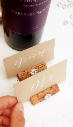 Love Wins Wedding Place Card Holder Wine by KarasVineyardWedding