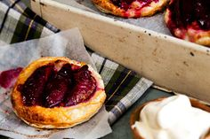 Individual plum and almond tarts