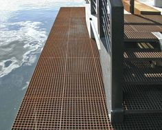 Odense Habour, Denmark  Pressure locked mesh gratings  Corten steel & galvanised steel