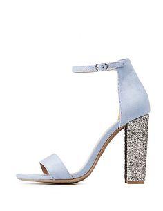 20146a8337a Ankle Strap Glitter Block Sandals Block Sandals
