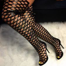 Elnora Gladiator Open Toe Lace Back Full Zipper Thigh High Stiletto Heel Boot BK