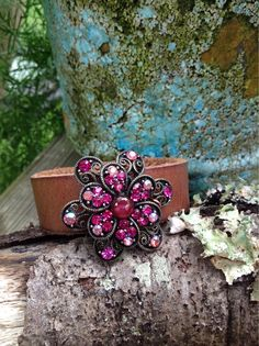 Pink Floral Vintage Brooch Leather Cuff Bracelet, Jeweled Cuff, Cuff Bracelet for Women, Free Shipping by TheVintageVibeFinds on Etsy