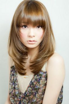 korean haircut for long hair with side bangs - Google Search