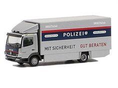 miniatura caminhao mercedes benz atego koffer polizei ho 1:87 1/87 herpa 906586
