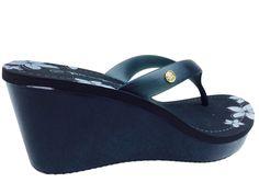 Nature Breeze Santa Fe Platform Summer Thong Flower Sandal Wedge Heel