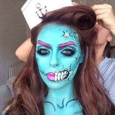 halloween makeup Halloween make-up Makeup Fx, Pop Art Makeup, Zombie Makeup, Crazy Makeup, Halloween Kostüm, Halloween Face Makeup, Halloween Costumes, Helloween Make Up, Pop Art Zombie