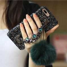 iPhone 6 6S Plus 7 7 Plus Luxury Bling Diamond Gem Bracelet Chain Tassel Fox Fur Ball Cover Case