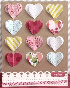 sewn paper hearts card layout...