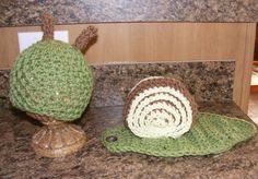 newborn crochet snail  hat cape photo prop photography boy girl