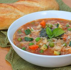 Summer Vegetable Soup with Pesto Recipe on Yummly Veg Soup, Vegetable Soup Recipes, Vegetable Stew, Crockpot, Guisado, Sandwiches, Cooking Recipes, Healthy Recipes, Cooking Ideas