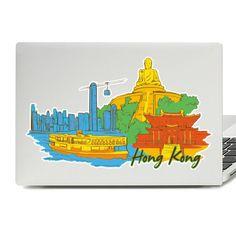 Hong Kong Illustration Laptop Skin Sticker Diy Wall Stickers, Laptop Stickers, Vinyl Decals, Laptop Skin, Drawstring Backpack, Hong Kong, Illustration, Creative, Bags