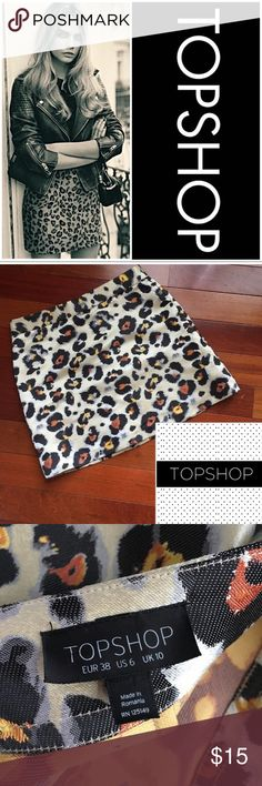"""Trending Topshop Mini Cheetah Skirt Latest Trending Style & Brand.  Super Cute Jacquard Mini by TOPSHOP Cheetah Print   Machine Washable  Color is subject to a person's viewpoint as well as monitor/phone and lighting at time of photograph   Pinch and zoom to examine photos close up   All Measurements Approximate - Waist 14 1/2"""" (x2) Length 15 1/2""""   Please Note 1st Photo Stock for Style Inspiration  Smoke free hypoallergenic pet friendly home - we have a Morkie. Topshop Skirts Mini"""