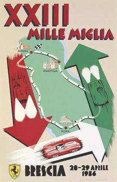 PEL214: '1956 Mille Miglia' by Charles Avalon - Vintage car posters - Art Deco - Pullman Editions - Ferrari