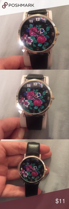 New!! Gorgeous black & floral watch! ❤️ Gorgeous new watch with floral design. Faux leather (standard size) strap. Accessories Watches