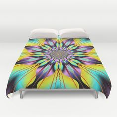 Fantasy sunflower with wavy rays and patterns Duvet Cover by Thea Walstra | Society6