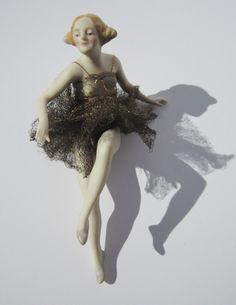 Antique 1920s Porcelain Bisque Figurine Bathing Beauty Original Net Costume