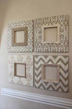 Stencil Picture Frames I love everything about these. Good idea for those IKEA mirrors.