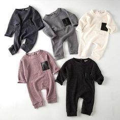 TouchCare 2017 Fall Autumn Embossed Long Sleeve Baby Jumpsuits Newborn Boys Girls Leather Pocket Romper Kids Infant Clothing #babyboylongsleeve #babygirllongsleeve