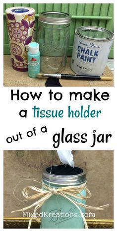 how to make a tissue holder out of a glass jar, repurposed jar tissue holder MixedKreations.com