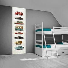 Kent u ze nog? Een leuke muursticker voor een stoere jongenskamer van oude Dinky toy auto's.