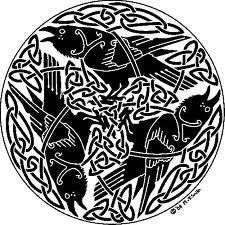Celtic knotwork ravens.