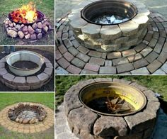 Amazing Backyard Fire Pit Design Ideas 01 - All For Garden Rim Fire Pit, Wheel Fire Pit, Metal Fire Pit, Fire Pit Landscaping, Fire Pit Backyard, Landscaping Ideas, Outdoor Fire, Outdoor Decor, Outdoor Living