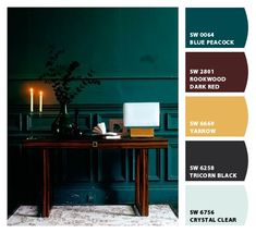 Dark teal with cherry, bronze, gold shades. Paint colors from Chip It! by Sherwin-Williams