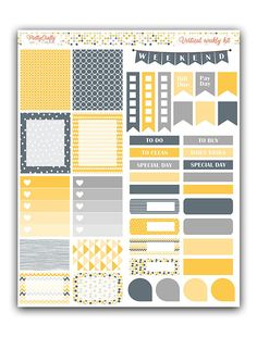 Yellow and grey stickers kit Themed by PrettyCraftyStickers Printable Planner Stickers, Journal Stickers, Planner Layout, Planner Ideas, Happy Planner, Free Planner, Planner Sheets, Planner Organization, Bullet Journal