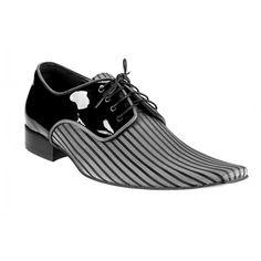 Pánske kožené extravagantné topánky čierne PT062 - manozo.hu