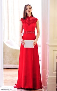 Chinese Wedding Dress Bridal Red Cheongsam Delicate Embroidered Qipao