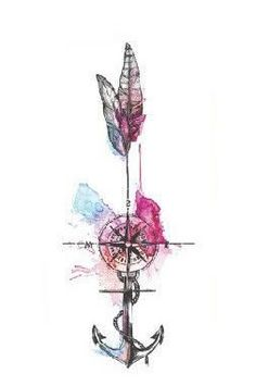 Wayfair Watercolor Compass Arrow Anchor Temporary Tattoo at MyBodiArt.com #TattooIdeasWatercolor
