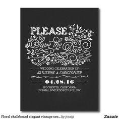Floral chalkboard elegant vintage save the date postcard