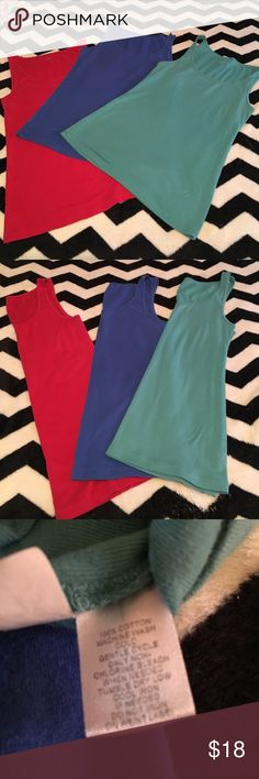 LOFT Essential Tanks LOFT Set of three Essential Tanks in Red, Teal and Blue in Great Condition. Super soft and comfy LOFT Tops Tank Tops