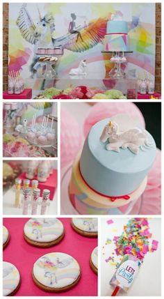 This unicorn pegasus girl birthday party is beyond gorgeous! The unicorn birthday cake, the cake pops, and unicorn cookies are beautiful. See more party ideas at CatchMyParty.com. #girlbirthday #partyideas #unicorn #pegasus #birthdaycake