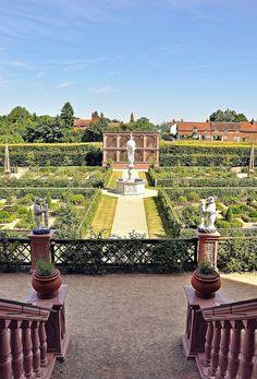 The Elizabethan Gardens at Kenilworth Castle in Kenilworth, Warwickshire.