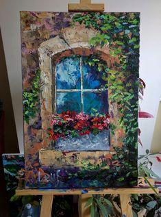 """Old old window"" Olena Leus art Olena Leus contemporary oil painting . - Art World Flower Painting Canvas, Oil Painting Flowers, Canvas Artwork, Shoe Painting, Acrylic Canvas, China Painting, Diy Canvas, Beginner Painting, Flower Art"